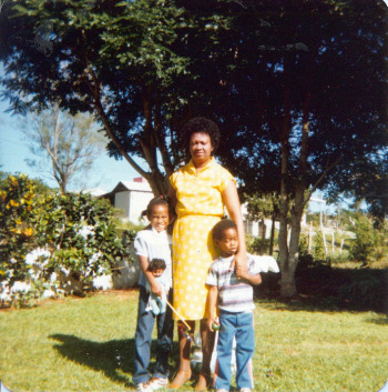 Mom had da bomb Jheri curl back in the day...(Mom, me and my brother)