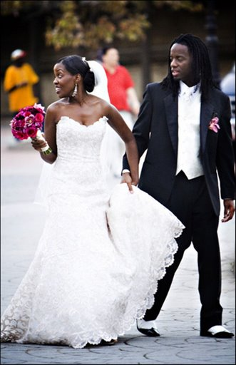 AJ and Akosua on their wedding day...