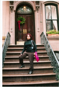 Me on Carrie's stoop (I know. I'm such a tourist...)